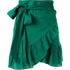 Isabel Marant Étoile ruffled skirt ($285) ❤ liked on Polyvore featuring skirts, green, frilly skirt, blue ruffle skirt, blue green skirt, frill skirt and blue skirt