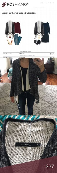 Stitch Fix jacket Black and cream colored, open front jacket. Medium weight, terry type interior, faux leather trimmed. Purchased from Stitch Fix and only worn once. Perfect condition. Only reasonable offers will be entertained. Ark & Co Sweaters
