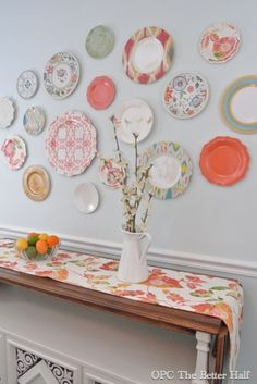 Plastic Plate Wall - OPC The Better Half - great plastic plates from Target, super cheap, tre` cute!