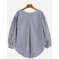 SheIn(sheinside) Checkered Bow Tie High Low Blouse ($12) ❤ liked on Polyvore featuring tops, blouses, plaid top, plaid blouse, navy blue top, checkered blouse and navy blue blouse