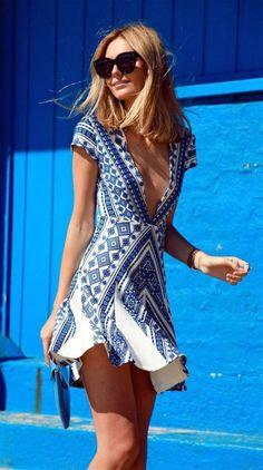 #street #style blue geo print dress @wachabuy