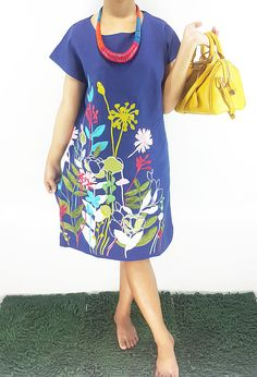 Dress Short sleeve Linen in Blue embroidered dress Spring/Summer/Autumn Dress Loose Fitting Blouse Tunic Plus Size Comportable by ThaiSaBuy on Etsy https://www.etsy.com/listing/222603536/dress-short-sleeve-linen-in-blue