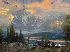 Little gold rush town or lumber camp at the foot of giant mountains - Thomas Kinkade