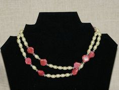Glass Pearls and Salmon Glass Beads. 32 by SimplyClassicByDeb, $20.00