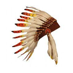 Coiffe de chef indien en plumes, avec une calotte en suédine et des motifs perlés sur les côtés.       La coloration de la fourrure à la base des plumes peut varier en raison de la nature artisanale du produit.       Dimensions : env. 37 cm de haut - tour de tête 50cm - élastique au dos.
