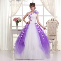 2015 Free Shipping New Fashionable Sweetheart Neck Floor Length One Shoulder Multicolor Purple And White Colored Wedding Dress