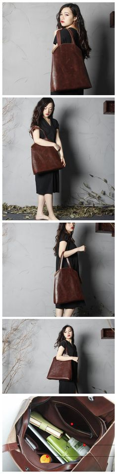 HANDMADE FULL GRAIN LEATHER TOTE BAG WOMEN SHOPPING BAG LADY HANDBAG WOMEN'S FASHION BAG LEATHER GOODS FOR WOMEN LEATHER GOOD DESIGN