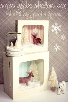 Spool and Spoon: Flashback Friday: Snow Globe Shadow Box Tutorial