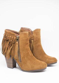 Brown fringe booties--$39