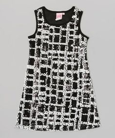 d932b8ca Lipstik Girls Black & Silver Geometric Sequin Tank Dress - Toddler & Girls
