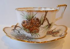 "SALISBURY England Hand Painted Bone China ""Pinecones"" Teacup and Saucer Set.  Dainty and cute."