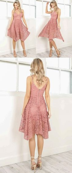 2017 homecoming dress, short pink lace homecoming dress, straps short pink lace prom dress party dress dancing dress