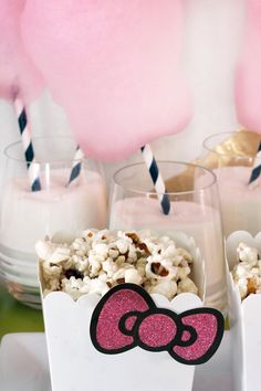 Hello Kitty Popcorn Cups | Cotton Candy on Paper Straws