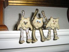Collectable Miniature Shelf cat | hand-made pottery from Muggins Pottery in Leicestershire - wedding gifts, birthday presents, christening presents and anniversary gifts.