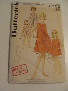 Vintage-Butterick-2706-Mother-Daughter-Beach-Tent-Dress-Sewing-Pattern-Uncut