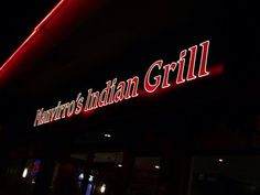 Manvirro's  Indian Grill, Nanaimo, BC.  Wall art, menu options and cover, outside signage and sp