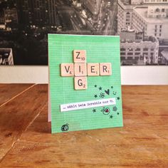 """Forty's Just Nineteen Card. Cardstock: Folia; DP: AC (""""DIY Shop""""); stamps: Paper Smooches (""""Spring Fling"""", Falling for You""""); Mama Elephant (""""Confetti""""); ink: Ranger; Scrabble letters: Basic Grey (""""Capture""""); Glossy Accents."""