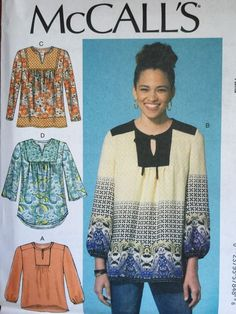 McCall's Sewing Pattern 7284 Ladies Peasant Tops Tunics Sizes XS s M New | eBay