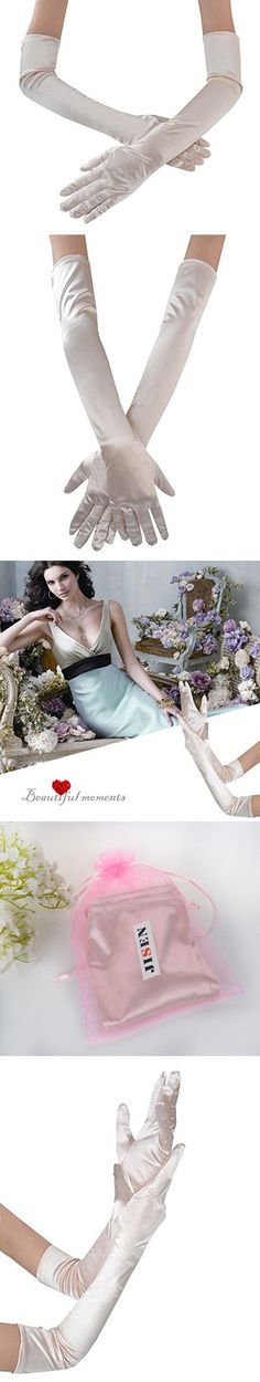 "JISEN Lady Formal Bridal Satin Banquet Party Wedding Opera Gloves Gift Long 22"" (Champagne)"