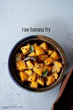 Banana Recipes Indian, South Indian Vegetarian Recipes, Indian Vegetable Recipes, Vegetarian Curry, Vegetarian Breakfast Recipes, Veg Recipes, Vegetable Dishes, Indian Food Recipes, Kitchens