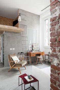 small apartment - loft bed - loft - white - gray - concrete floor - osb - resin floor - vintage armchair - vintage furniture - steel stair - vertical stair - opaline glass - mayday lamp - flos
