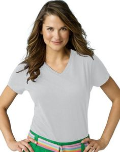 Hanes Ladies 45 oz 100 Ringspun Cotton nanoT VNeck TShirt  ASH  XS Color Ash Size XSmall Model S04V * Find out more about the great gardening product at the image link.