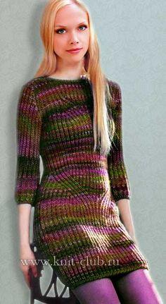Вязание платья спицами патентной резинкой