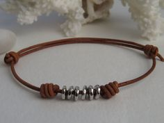 Unisex Adjustable Leather Bracelet, Bohemian Style Stackable Jewelry, Men's Leather and Silver Bracelet