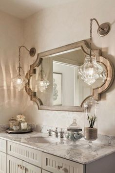 44 Gorgeous Bathroom Mirror Design Ideas - Years ago when fashion was not the way of life, the bathrooms came having the option of an over ceiling light having vertical fixtures of lights on th. Country Bathroom Vanities, Bathroom Mirror Design, Bathroom Ideas, Shower Ideas, Elegant Bathroom Decor, Parisian Bathroom, Bathroom Canvas, Country Bathrooms, Shiplap Bathroom
