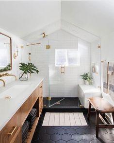 Beautiful bathroom ideas and inspiration - wood, black and white bathroom inspiration Beautiful Bathroom Decor and Design Ideas Bathroom Goals, Attic Bathroom, Bathroom Interior, Small Bathroom, Bathroom Black, Bathroom Vanities, Bathroom Modern, Bathroom Plumbing, Black And White Master Bathroom