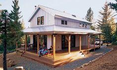 I like smaller home designs like this. Nice wraparound porch.