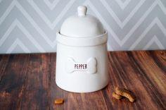 Personalized Dog Treat Jar  Large Size by Susabellas on Etsy #dogtreatjar
