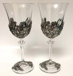 Pair Of Royal Selangor 1997 Pewter Wine Glasses Goblets Stemware Irises Floral