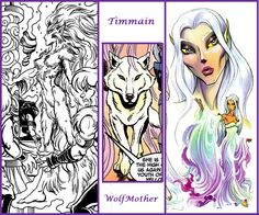 Timmain shape-changing wolf mother from #Elfquest.  Art by Wendy Pini.