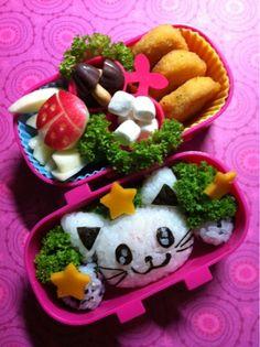 Kitty Cat Rice-ball and Ladybug Apple Kyaraben Bento Lunch