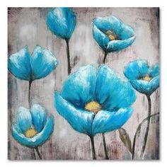 40'' x 40'' ''Blue Flowers'' Canvas Wall Art