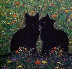 """Love Is in the Air"" par Rosemary Margaret Daunis Black Cat Art, Black Cats, Art Mignon, Art Et Illustration, Illustrations, Aesthetic Art, Black Cat Aesthetic, Wow Art, Art Portfolio"