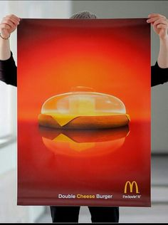McDonalds Double Cheese Burger by DDB, Helsinki, Finland Ads Creative, Creative Advertising, Print Advertising, Marketing And Advertising, Advertising Campaign, Creative People, Cheese Burger, Ad Design, Graphic Design