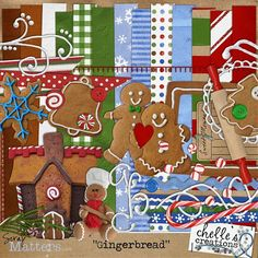 Candyland Gingerbread House Digital Scrapbooking inspiration for Robyn's page Christmas