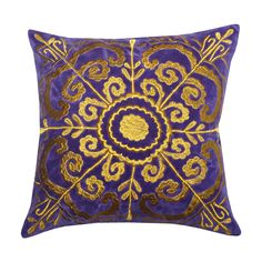 This lovely artisan throw pillow features a gold medallion pattern embroidered on the cover. This pillow features a convenient removable cover for easy lifelong maintenance.