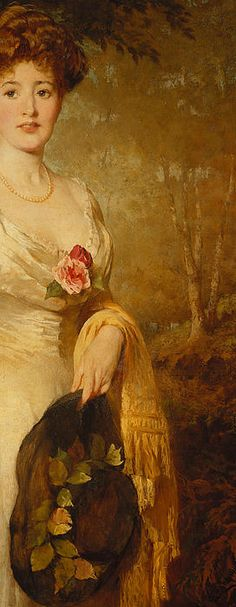 Portrait of a Lady in A White Dress By George Elgar Hicks