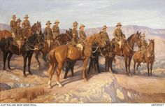 Leaders of the Australian Light Horse in Palestine, 1918 Jordan Valley; 1st, 2nd, 3rd, 4th and 5th Australian Light Horse Brigades; a group of ten officers, all mounted, in a desert landscape, l-r: Brigadier General George Macleay Macarthur-Onslow, DSO, 5 ALH Bde; Brigadier General William Grant, DSO, 4 ALH Bde; Lieutenant Colonel John Gilbert Browne, DSO (14th Hussars) Chief Staff, Anzac Mtd; Brigadier General Lachlan Chisholm Wilson, CMG, 3 ALH Bde; ..... by H Septimus