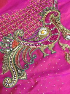 Swathi's Boutique Designs Pink Embroidery Saare Silk Saree Blouse Designs, Bridal Blouse Designs, Blouse Neck Designs, Blouse Patterns, Aari Embroidery, Embroidery Works, Couture Embroidery, Peacock Embroidery Designs, Maggam Work Designs