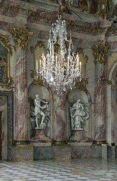 Imperial Room of the Würzburg Residence Bavaria, Germany. I worked in Würzburg, U. Chandelier Bougie, Chandelier Lighting, Crystal Chandeliers, French Chandelier, Baroque, Old World, Statues, Interior And Exterior, Beautiful Homes