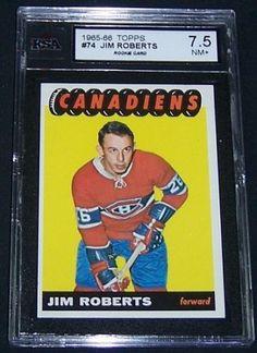 1965-66-Topps-JIM-ROBERTS-rc-75-KSA-7-5-Nr-MT-CANADIENS-SHARP