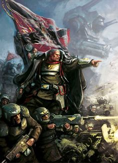 Lord Castellan Ursarker E. Creed and Colour-sergeant Jarran Kell, of the glorious Cadian 8th.