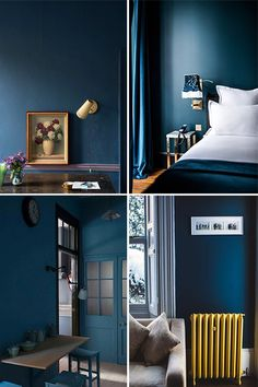 all about blue. Blue Yellow Bedrooms, Blue Bedroom Walls, Blue Rooms, Home Bedroom, Bedroom Colour Palette, Blue Colour Palette, Bedroom Colors, Blue Accent Walls, Dark Blue Walls
