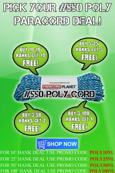 These deals are good through Thursday (5/22/2014).   To purchase some polyester cord, visit here https://www.paracordplanet.com/550-Polyester-Paracord.html, and to see our full list of biweekly sales, subscribe to our newsletter here http://paracordplanet.us2.list-manage.com/subscribe?u=354999330c19662ee6840f0ff&id=e3446085f2