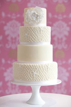 Vintage Crochet Wedding Cake- Caroline's Cake Company Purple Wedding Cakes, Elegant Wedding Cakes, Elegant Cakes, Wedding Cake Designs, Yellow Wedding, Bolo Floral, Floral Cake, Pretty Cakes, Beautiful Cakes