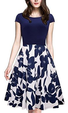 24 Casual Dress for Spring 2017 Women's Vintage Elegant Cap Sleeve Swing Party Dress Dark Blue Business Professional Attire, Business Casual Dresses, Cute Dresses, Beautiful Dresses, Dresses For Work, Ladies Dresses, Party Dresses For Women, Work Attire Women, Vintage 1950s Dresses